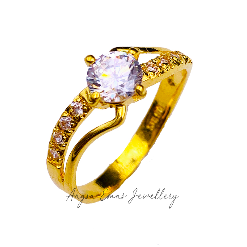 Twist Double Band Stone Ring