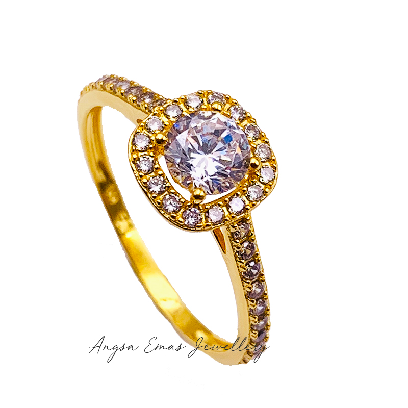 Halo Cubic Stone Ring