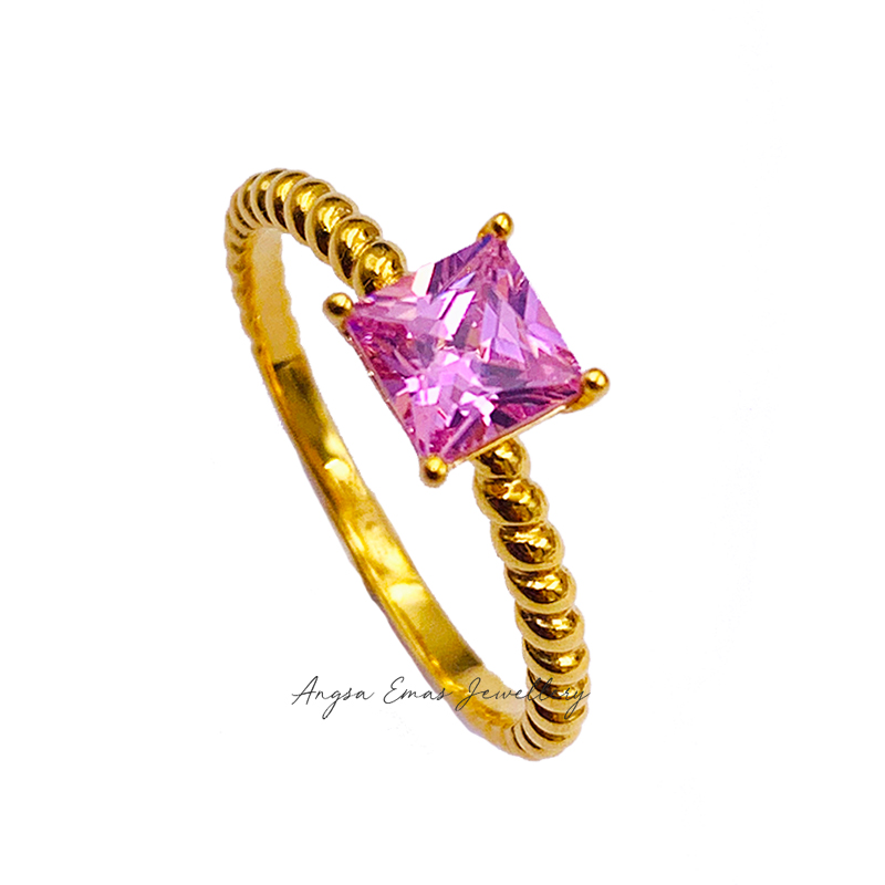 Twist Rope Cubic Pink Stone Ring