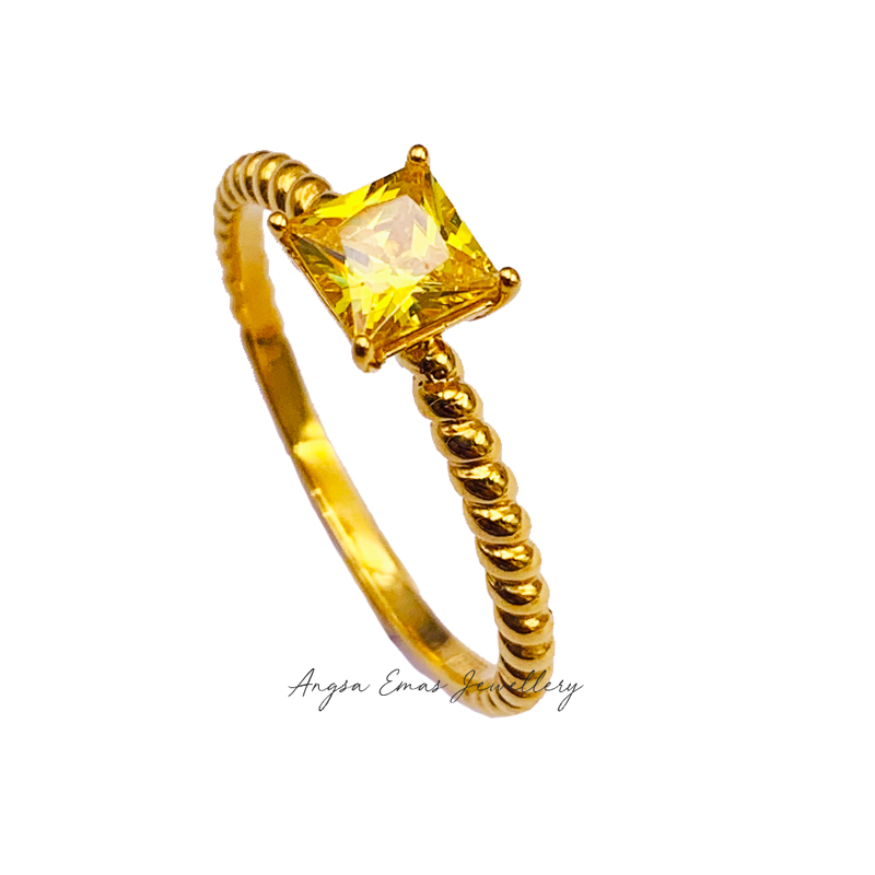 Twist Rope Cubic Yellow Stone Ring