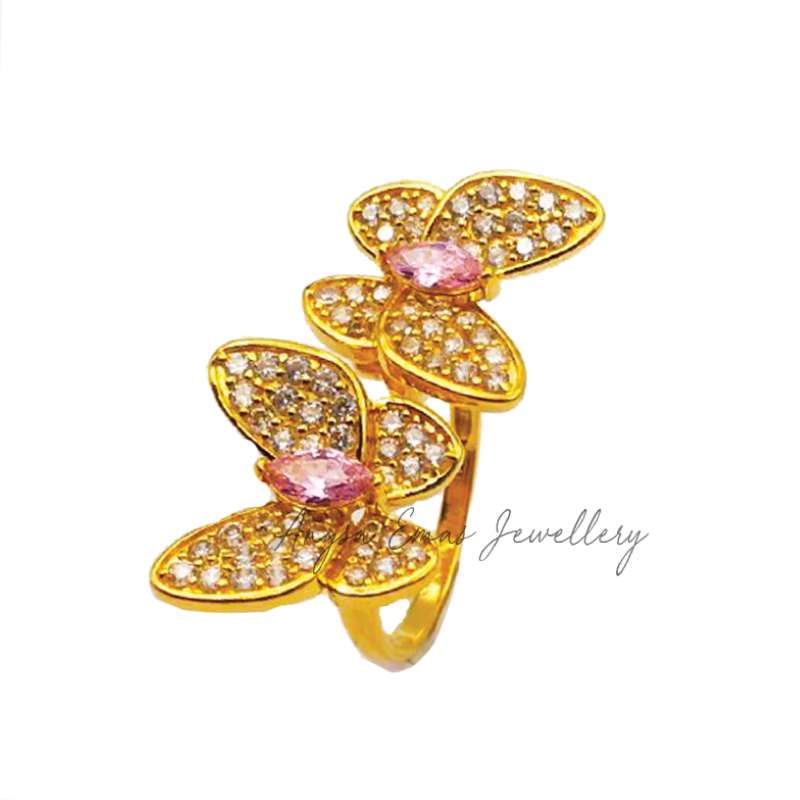 Mariposa In Pink Stone Ring