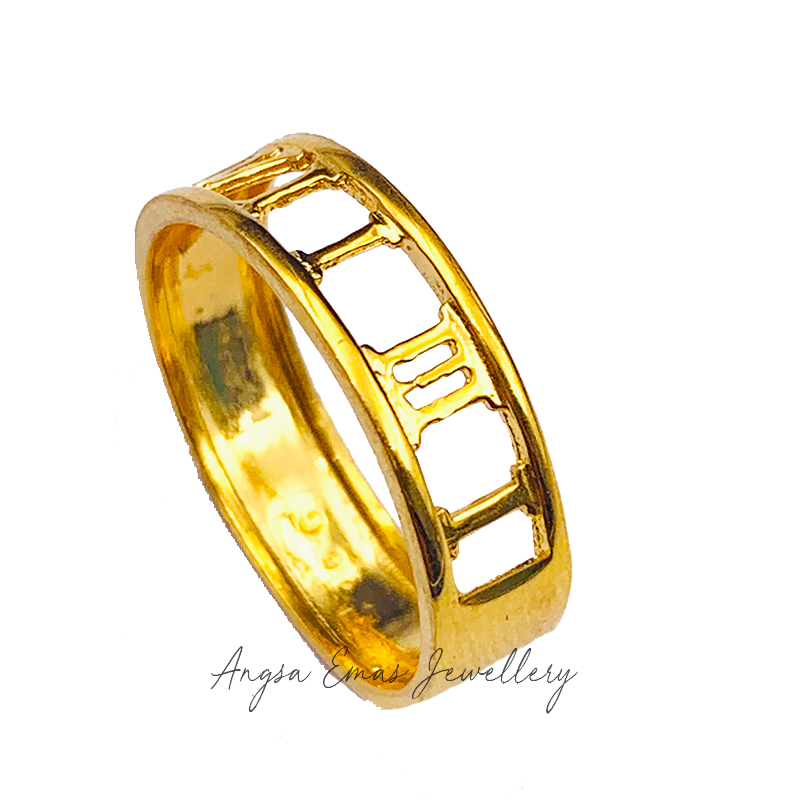 Roman Numeral All Gold Ring